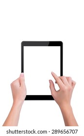 Woman touches the black the tablet