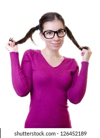Woman touches her ponytail with white background