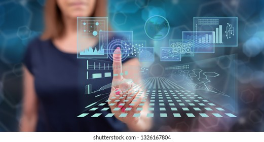 Woman touching a business digital interface concept on a touch screen with her finger