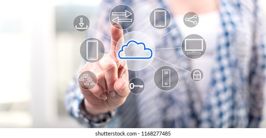 Woman touching a cloud computing concept on a touch screen with her finger
