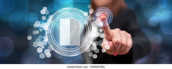 Woman touching a document validation concept on a touch screen with her finger