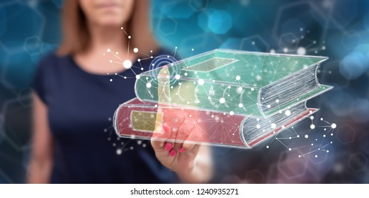 Woman touching an e-learning concept on a touch screen with her finger