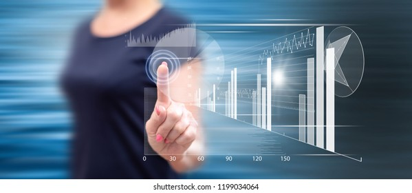 Woman touching a financial analysis concept on a touch screen with her finger