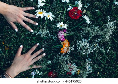 Woman touching grass with wild flowers