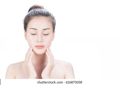 Woman Touching her Face. Facial treatment . Cosmetology , beauty and spa . Pure Beauty Model. Youth and Skin Care Concept.while isolated on white background