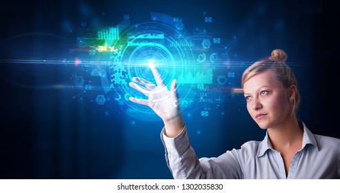 Woman touching hologram screen displaying medical symbols and charts