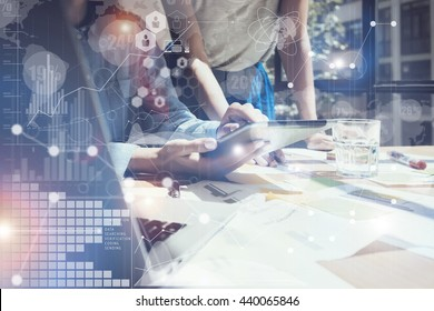 Woman Touching Screen Electronic Tablet Hand.Project Managers Researching Process.Business Team Working New Startup modern Office.International Digital Diagrams Interfaces.Analyze market stock.Blurred