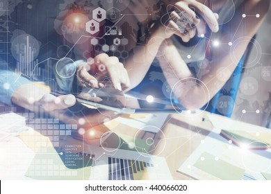 Woman Touching Screen Electronic Tablet Hand.Project Manager Research Process.Business Team Working New Startup modern Office.Global Strategy Hi-Tech Icon Charts Interface.Analyze market stock.Blurred