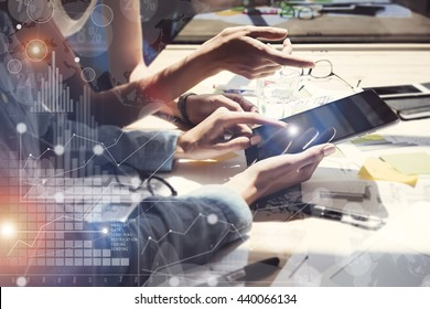 Woman Touching Screen Electronic Tablet Hand.Project Managers Researching Process.Business Team Working New Startup modern Office.International Digital Charts Interfaces.Analyze market stock.Blurred