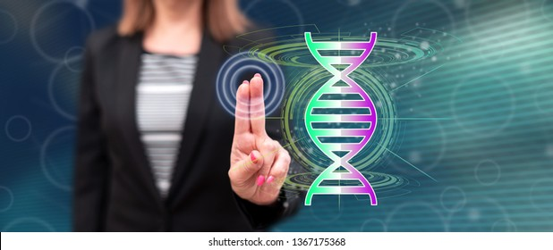 Woman touching a transhumanism concept on a touch screen with her fingers