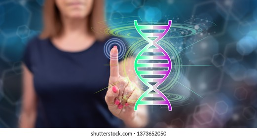 Woman touching a transhumanism concept on a touch screen with her finger