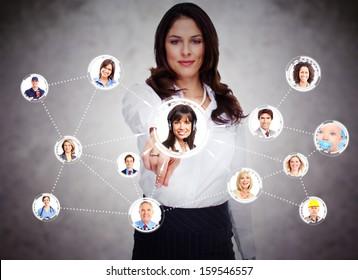Woman touching virtual screen. Social media network.