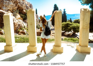 woman tourist in ancient Greek Acropolis