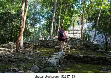 woman tourist in Coba mayan site in Mexico