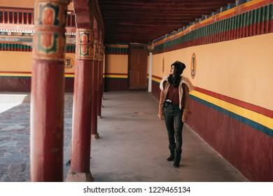 Woman tourist in Hemis temple monastery  Leh-Ladakh , India