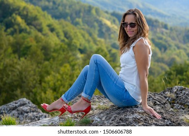woman tourist in the mountains portrait