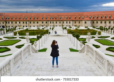 Woman, tourist taking a photo in Bratislava, Slovakia