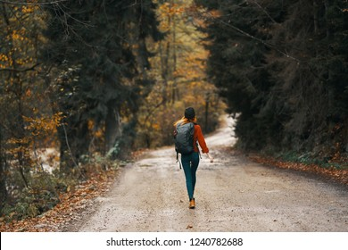 woman tourist walking along the forest