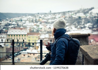 woman tourist - winter city break in Sighisoara, Romania