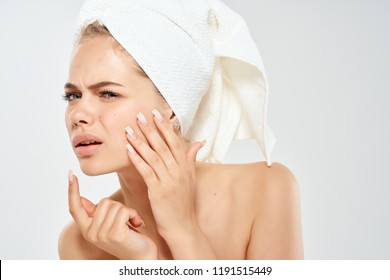 woman with a towel on her head