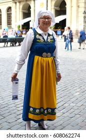 Woman in Traditional Dress on Swedish National Day - June 2014 - Stockholm, Sweden