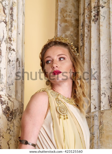 Woman Traditional Roman Clothing Posing Temple Stock Photo