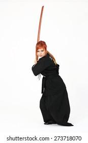 Woman training Haidong Gumdo, martial art Kendo form