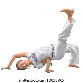 Woman trains capoeira in studio isolated on white background. The woman does the fighting element of capoeira - concept about people, lifestyle and sport.
