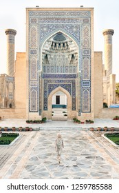 Woman Travaler in East Asia Mosque Vault Entrance. Caucasian Female Standing in Islamic Ceramic Ornament Temple Dome. Blue Mosaic Arch Historical Landmark. Vertical View
