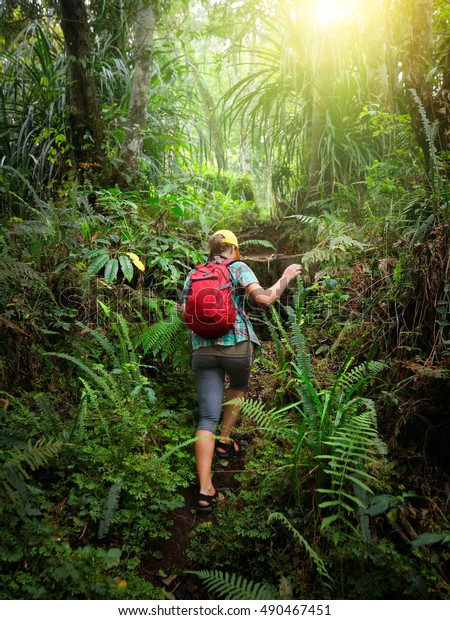 Woman traveler with backpack climb the hill in rain forest. Adventure, travel, tourism, hike in jungle concept. Indonesia