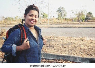 Woman traveling with backpack