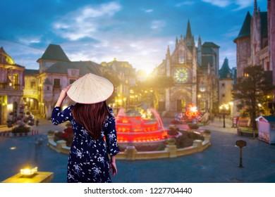 Woman is traveling at French village on Bana Hill in Danang, Vietnam.