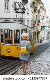 Woman traveling in Lisbon, Portugal