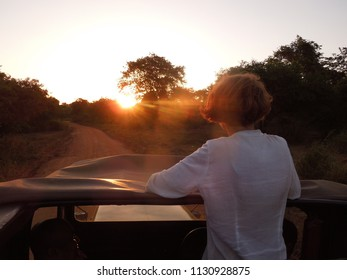 Woman traveller enjoying sunset on a jeep safari in Minneriya National Park, Sri Lanka during the annual gathering of the elephants in the dry season