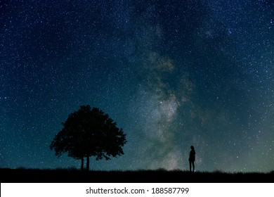 Woman, tree, night sky and grassland
