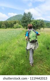 woman trekking on the path