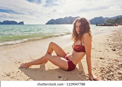 Woman at the tropical beach. Thailand