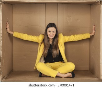 woman trying to enlarge the office space