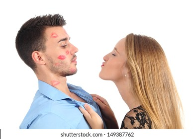 Woman trying to kiss a man desperately isolated on a white background
