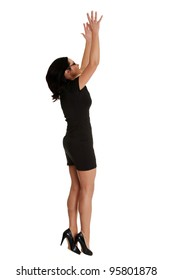 Woman trying to reach something with her hand , isolated on white background