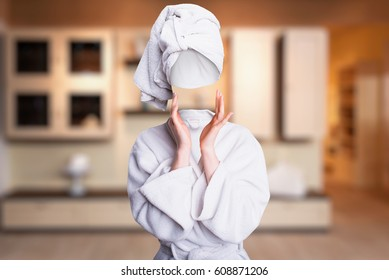 Woman trying to touch her invisible face