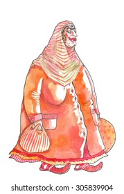 Woman from Turkey stays with two big bags. She is fat and has huge breasts. She is smiling. She has thick eyebrows grown together, big earrings and traditional shoes. She is a Muslim.