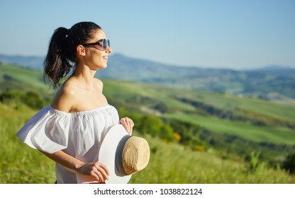 Woman in Tuscany. Italian holiday