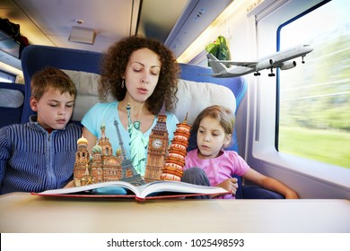 Woman with two children dreams of traveling in train, collage
