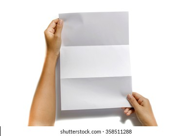 woman two hands holding blank paper a4 size on a white background