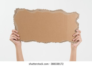 woman two hands holding empty piece of cardboard with copy space, isolated on white background.