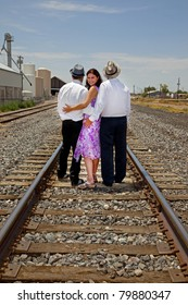 Woman with two men representing a romantic triangle or a  polyamory (polyamorous) relationship