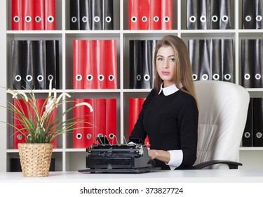 Woman typing in office