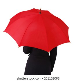 Woman with umbrella, isolated on white