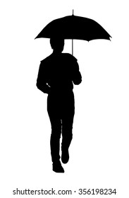 A woman with an umbrella, isolated on white background.